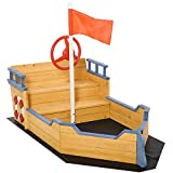 Outsunny Sandkasten Matschekiste aus Tannenholz Segelschiff Piratenschiff Design für Kinder 3-6 Jahre Natur