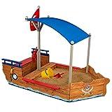 KidKraft 128 Piratenschiff-Sandkasten aus Holz, Garten-Sandkasten für Kinder