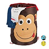 Relaxdays Pop-Up Wäschekorb für Kinder, Tiermotiv AFFE, Faltbar, 39 l Stauraum, Aufbewahrungskorb HxD: 43 x 34 cm, braun
