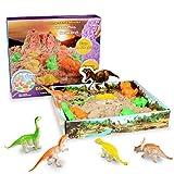 Weeygo Magic Sand Playset, 3D Sand Box mit 500g Super Sand - Knetsand Magischer Natürlichen Spielsand mit Dinosaurier Geometrischen Schimmel für Kinder