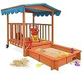 Sandkasten Dach XL   Sonnenschutz UV 50   rollbare Spielveranda   Spielhaus Sandbox Holz Deckel für Kinder