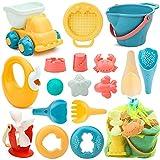 17 Stück Strand Sandspielzeug Set mit Wasserrad, Strandbuggy, Eimer, Netzbeutel, Sandformen, Weichem Kunststoff Spielzeug Strand für Kinder Jungen Mädchen