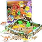 RenFox Play Sand Spielsand Magic Sand Set 3D Sand Set 500g Natürlichen Indoor, Sand Set Beinhaltet Sand(umfassen Dinosaurier Förmchen & 3D Sand-Box) Interessantes pädagogisches Spielzeug für Kinder