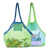 Abree 2 Stück Strand Aufbewahrung Tasche Netz Sandspiel Netztasche mit 6 Tasten für Sandspielzeug, Extra Große Familie Mesh Beach Bag Tote