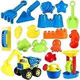 TOYANDONA Strand Sand Spielzeug Set für Kinder 18 Stück Sand Spielzeug Enthält Sandwagen Schlosseimer Gießkanne Schaufel Werkzeugsatz Sandformen Sandkasten Spielzeug Sommer Outdoor Strand