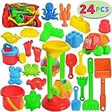 JOYIN 24 Stück Strand Sandspielzeug Set mit Sandrad, Lastwagen, Sandformen, Eimer, Gießkanne, Sandschaufel, Sandspielzeug für Jungen Mädchen Kinder (1 Netzbeutel enthalten)