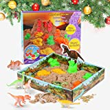 Play Sand Spielsand Magic Sand Set 3D Sand Set 500g Natürlichen Indoor, Sand Set Beinhaltet Sand(umfassen Dinosaurier Förmchen & 3D Sand-Box) Interessantes pädagogisches Spielzeug für Kinder